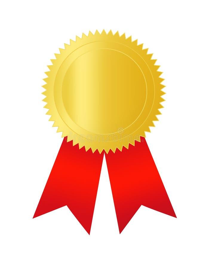 Selo do ouro com fita vermelha ilustração stock