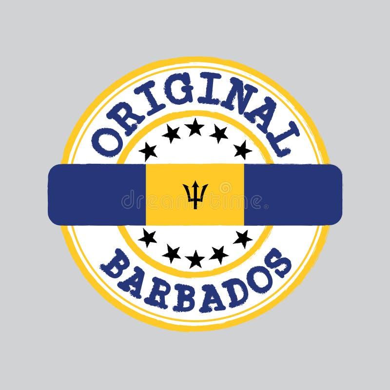 Selo do vetor do logotipo original com texto Barbados e amarração no meio com bandeira da nação ilustração royalty free