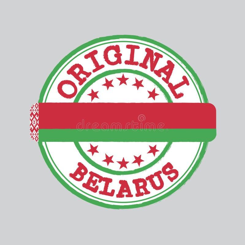 Selo do vetor do logotipo original com texto Bielorrússia e amarração no meio com bandeira da nação ilustração stock