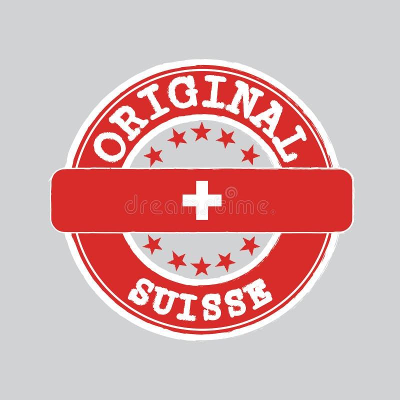 Selo do vetor do logotipo original com texto Suisse e amarração no meio com bandeira suíça ilustração do vetor