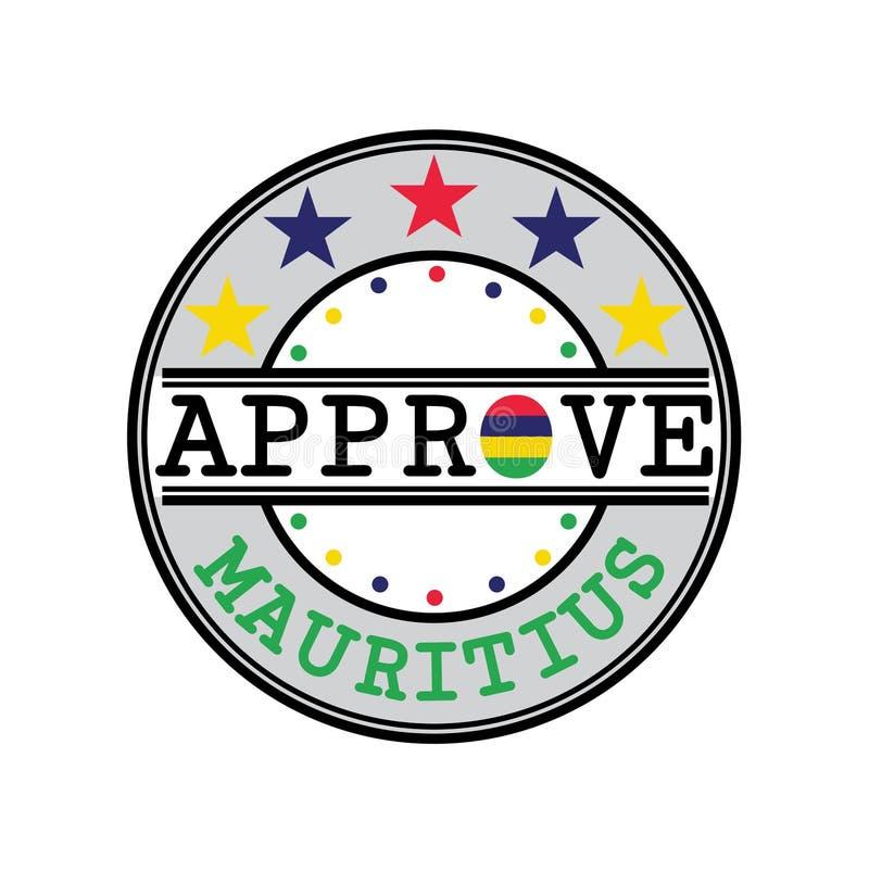 Selo do vetor para o logotipo Approve com Mauritius Flag na forma de O e de texto Maurícias ilustração do vetor