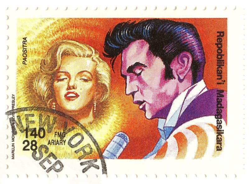 Selo do vintage com Monroe e Elvis fotos de stock