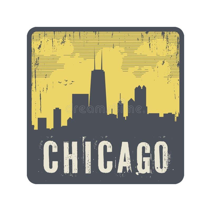 Selo do vintage do Grunge com texto Chicago ilustração royalty free