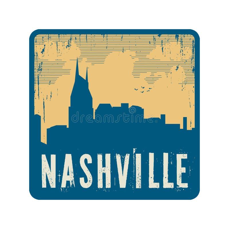 Selo do vintage do Grunge com texto Nashville ilustração do vetor