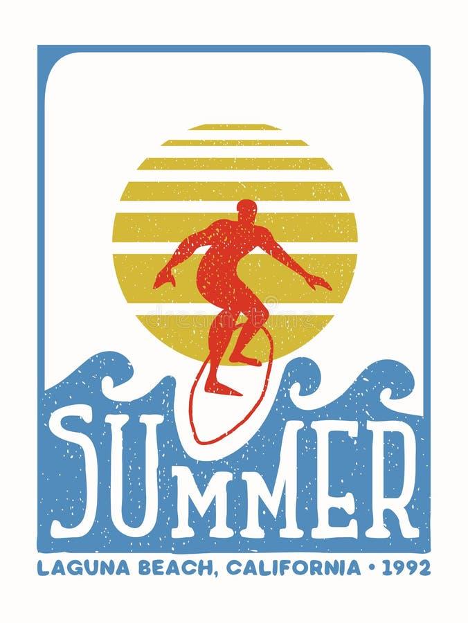 Selo do vintage do homem do surfista da praia de Califórnia ilustração royalty free