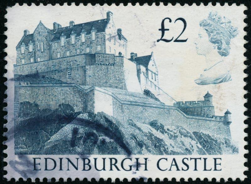 Selo do vintage impresso no castelo de Edimburgo das mostras de Grâ Bretanha 1988 imagens de stock