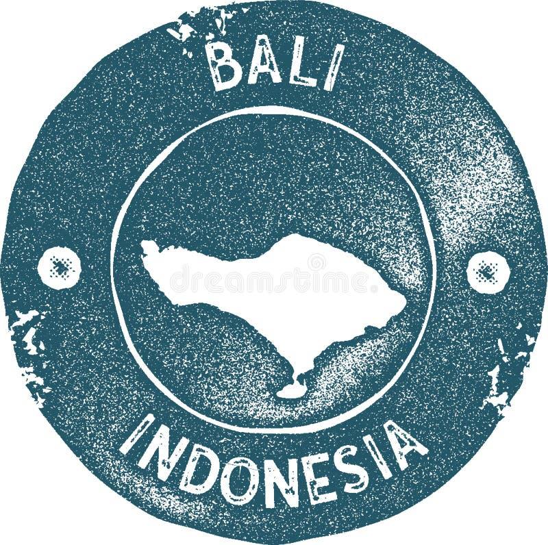 Selo do vintage do mapa de Bali ilustração do vetor