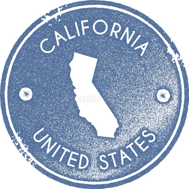 Selo do vintage do mapa de Califórnia ilustração do vetor