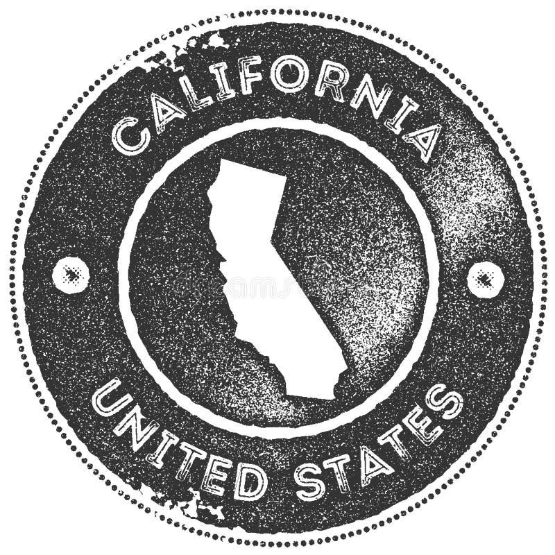 Selo do vintage do mapa de Calif?rnia ilustração do vetor