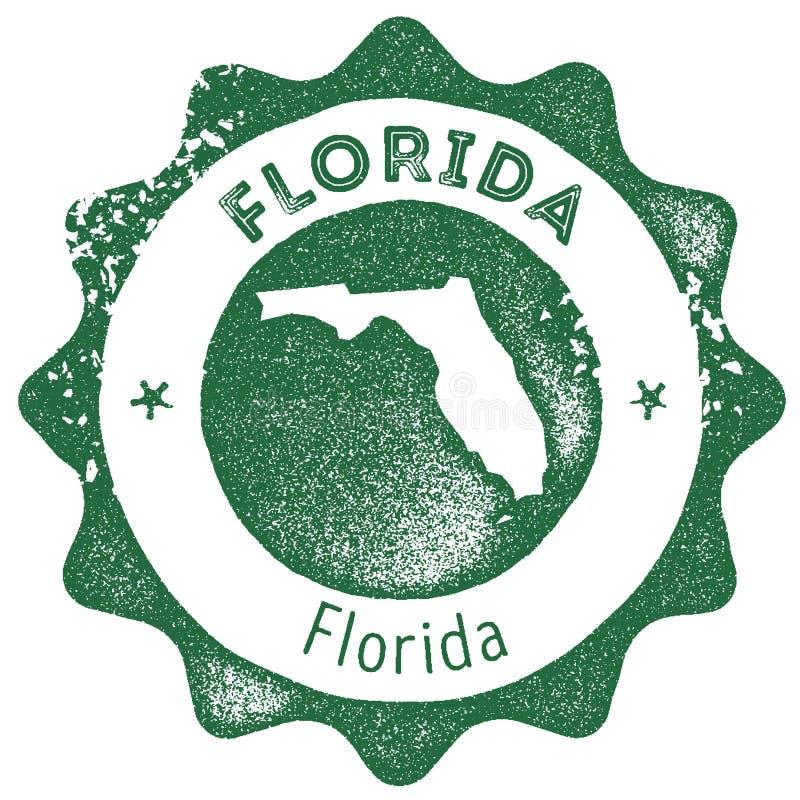 Selo do vintage do mapa de Florida ilustração royalty free