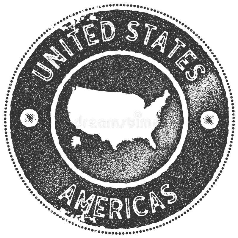 Selo do vintage do mapa dos EUA ilustração stock
