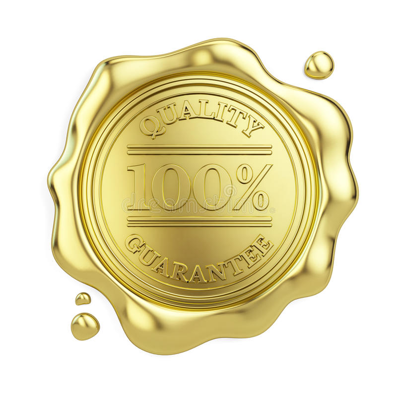 selo 100% dourado da cera da garantia de qualidade isolado no fundo branco ilustração do vetor