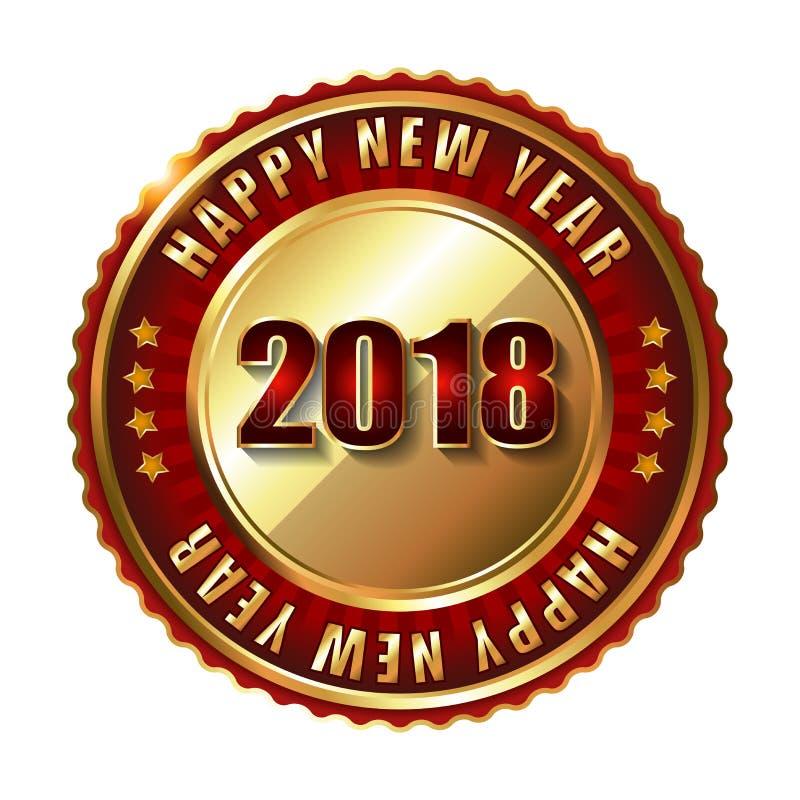 Selo dourado da etiqueta do ano novo feliz 2018 com diamantes ilustração royalty free