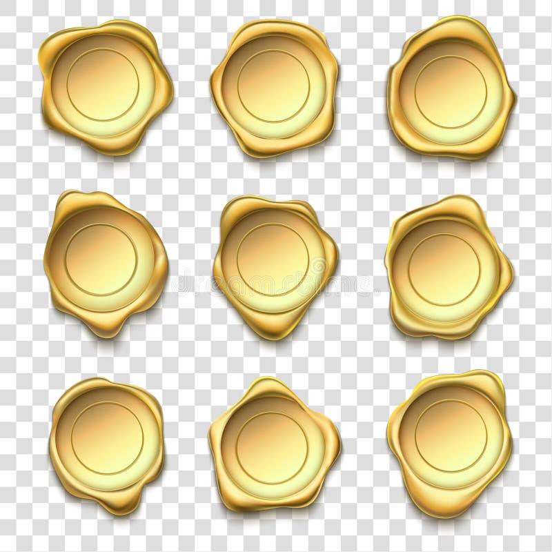 Selo dourado Selos da cera do ouro da elite, selos superiores e grupo da ilustração do vetor do selo do cargo do envelope da conf ilustração stock