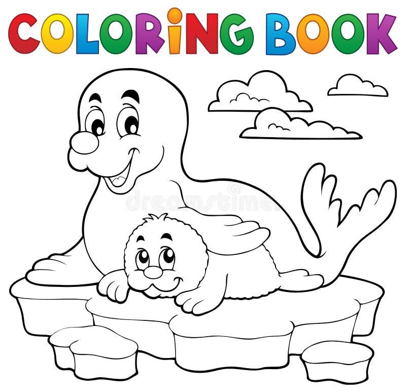 Selo feliz do livro para colorir com filhote de cachorro ilustração royalty free