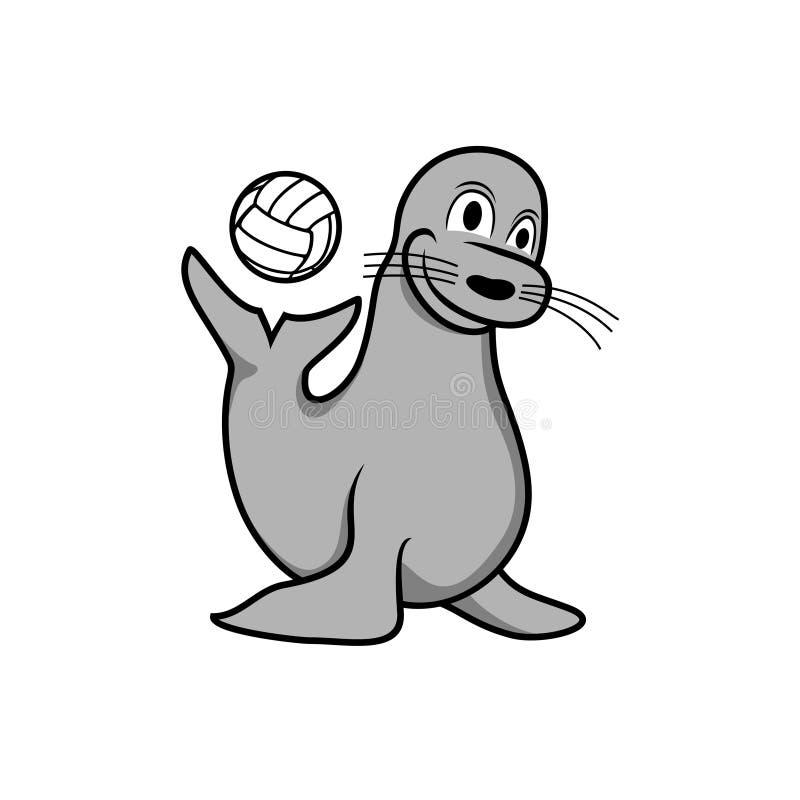 Selo feliz que joga o projeto da ilustração da bola ilustração royalty free