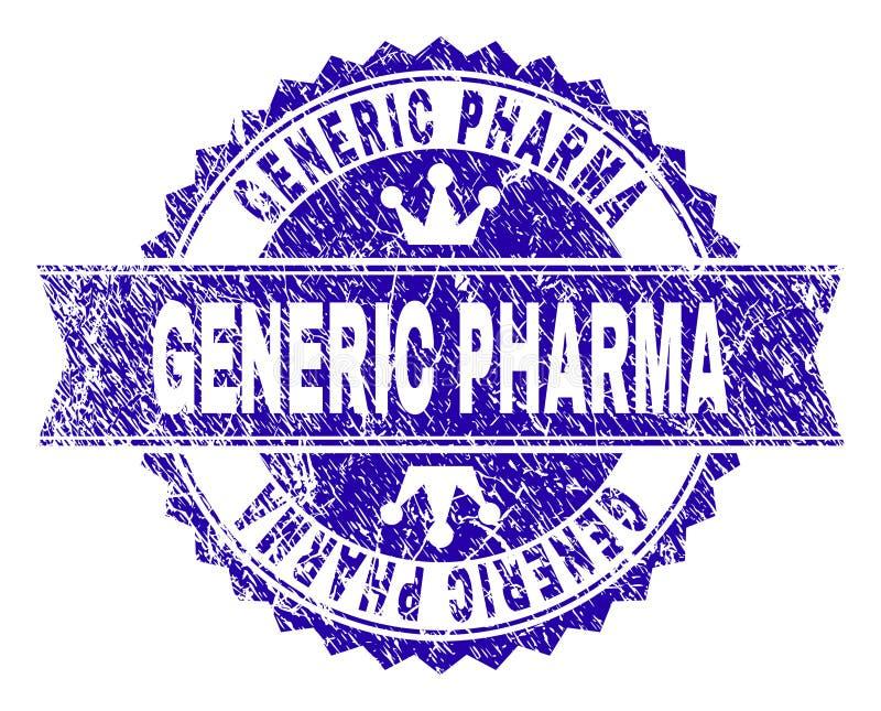 Selo GENÉRICO Textured riscado do selo de PHARMA com fita ilustração stock