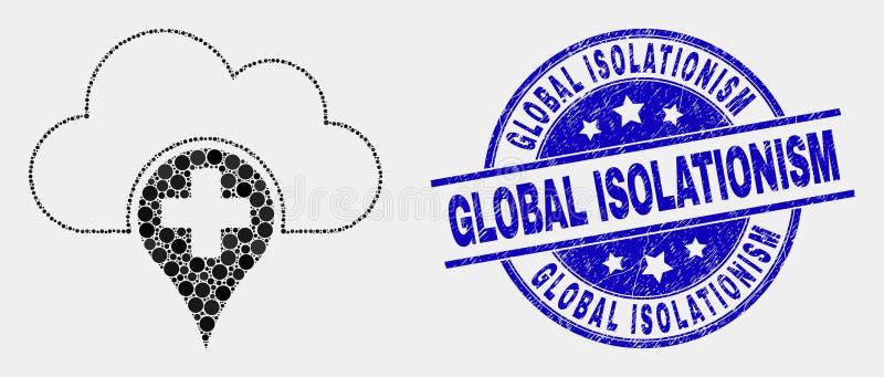 Selo global médico pontilhado vetor do ícone da nuvem e do selo do isolacionismo do Grunge ilustração royalty free