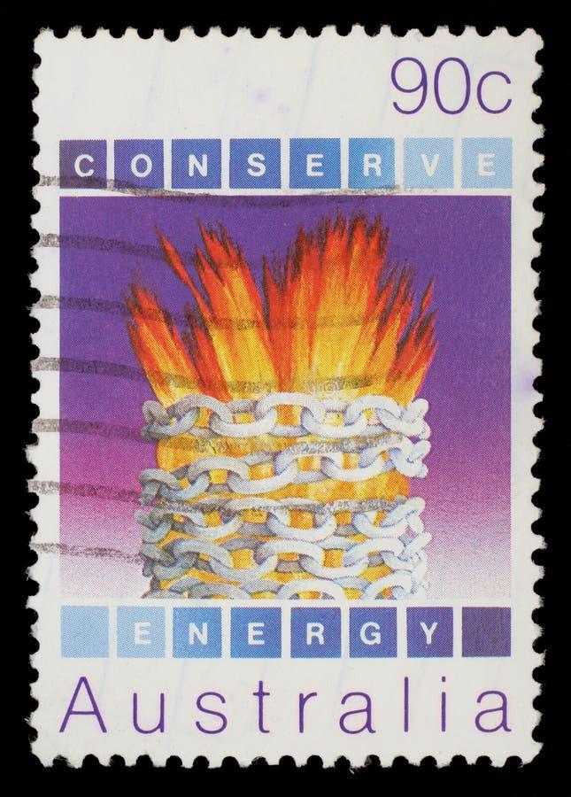 Selo impresso em Austrália, conservação ambiental das mostras, energia fotografia de stock