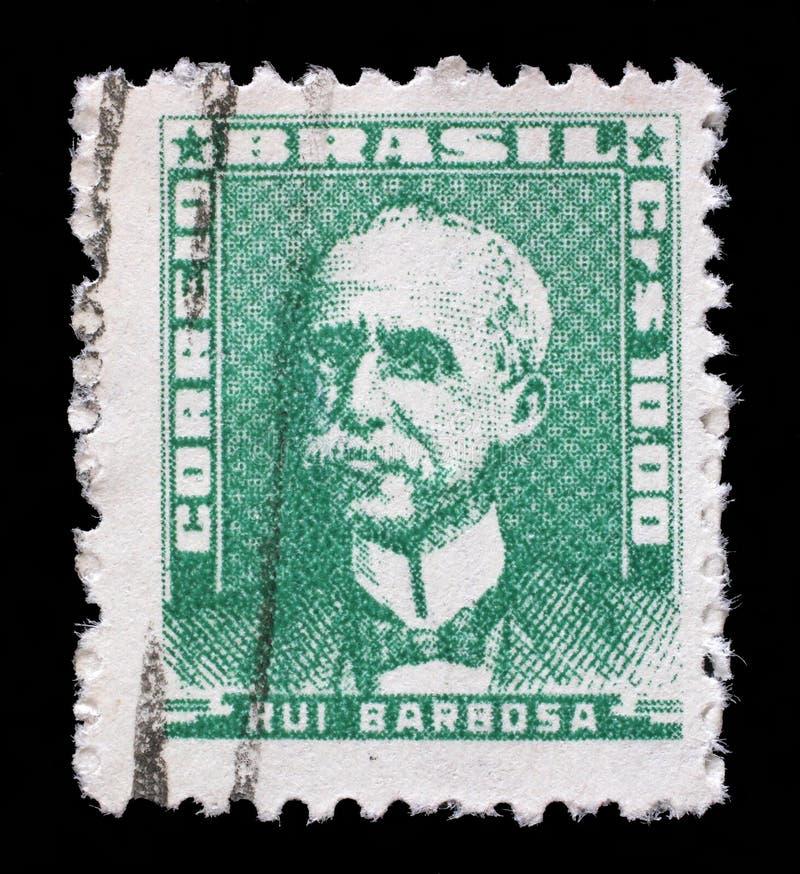 Selo impresso em Brasil, retrato das mostras de Ruy Barbosa fotos de stock