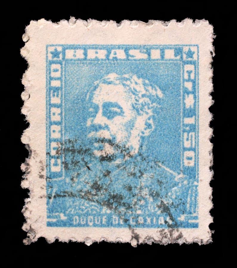 Selo impresso em Brasil, retrato das mostras do duque de Caxias foto de stock royalty free