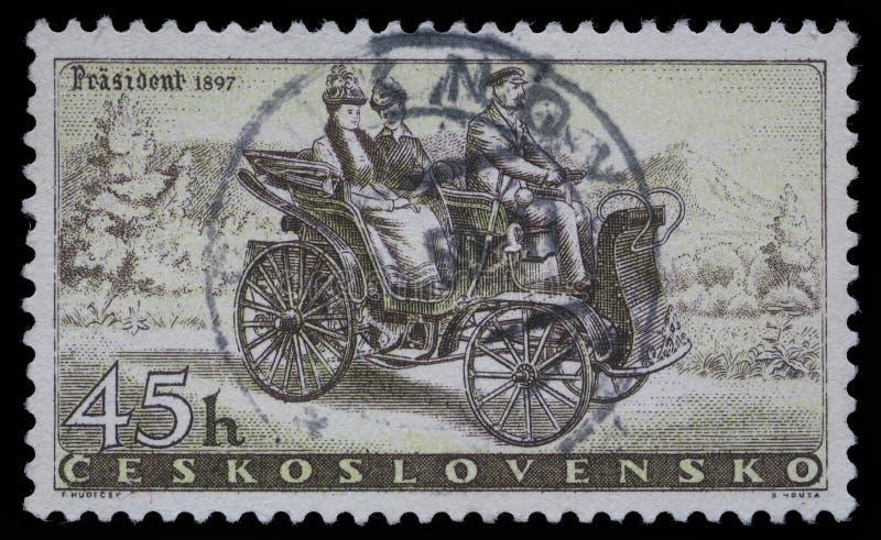 Selo impresso em Checoslováquia, carro de Prasident das mostras fotografia de stock royalty free