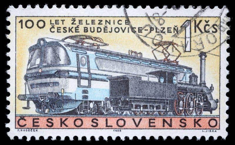 Selo impresso em Checoslováquia, centenário das mostras do Checo railway Budojevice - Plzen imagens de stock