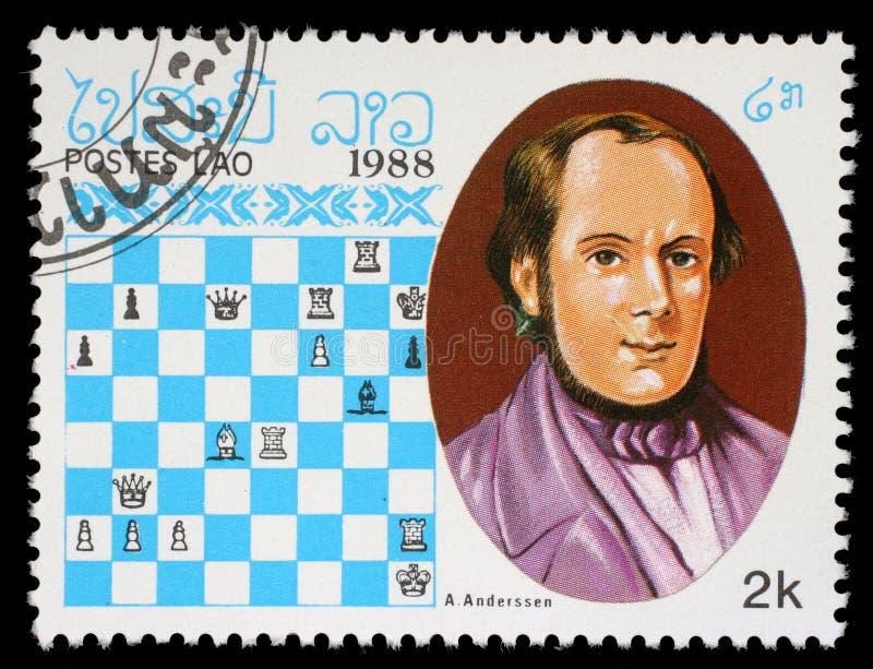 Selo impresso em Laos, mostras A Anderssen, campeão da xadrez imagem de stock royalty free