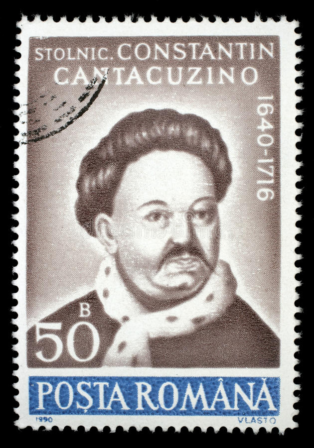 Selo impresso em Romênia, retrato das mostras de Constantin Cantacuzino fotografia de stock royalty free