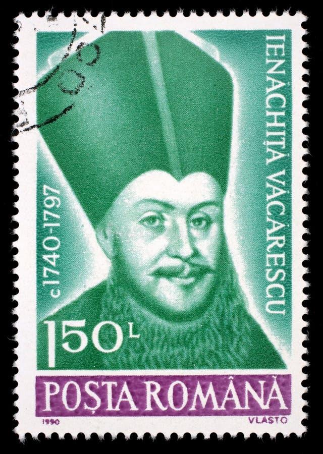 Selo impresso em Romênia, retrato das mostras de Ienachita Vacarescu fotos de stock royalty free