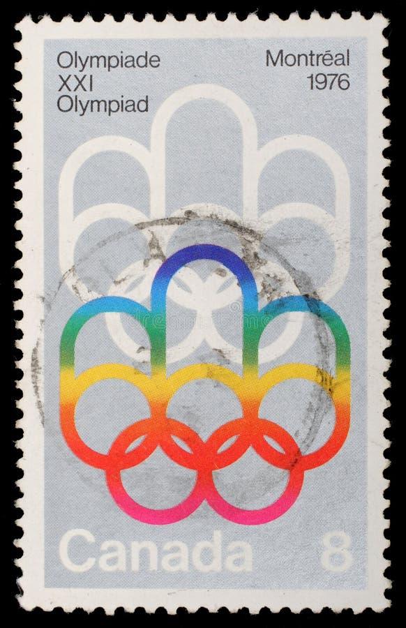 Selo impresso Jogos Olímpicos por Canadá, Montreal das mostras foto de stock