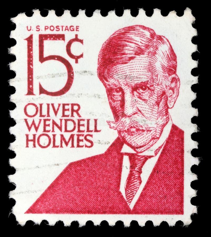 Selo impresso nos EUA, mostras Oliver Wendell Holmes, júnior fotografia de stock
