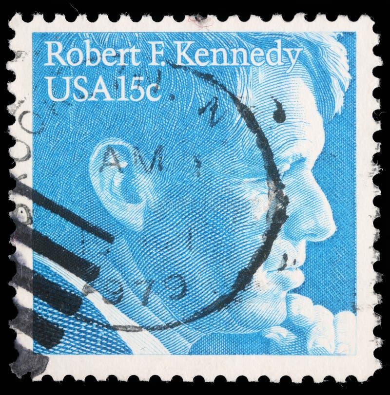 Selo impresso nos EUA, mostras Robert Kennedy fotos de stock royalty free