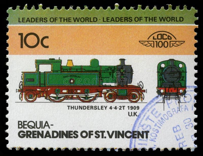 Selo impresso nos xaropes de groselha do trem 4-4-2T de Thundersley das mostras de St Vincent fotografia de stock
