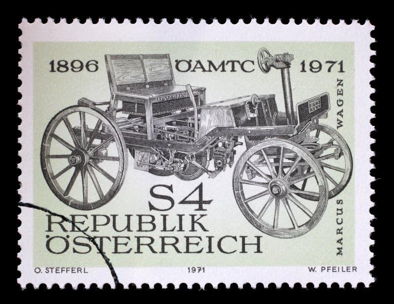 Selo impresso por Áustria, mostras Marcus Car fotos de stock