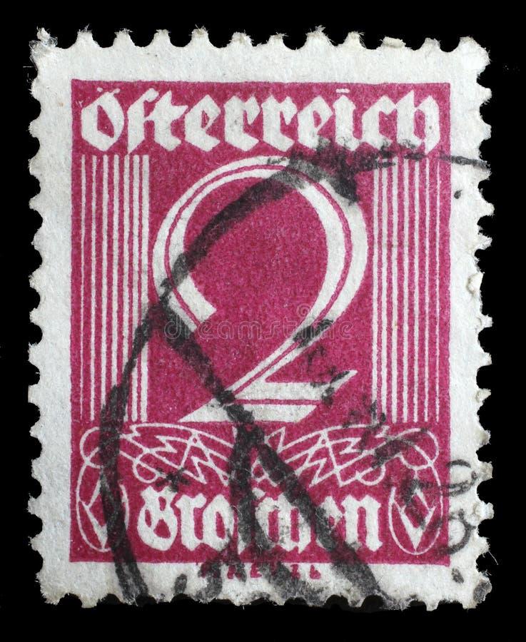 Selo impresso por Áustria, valor numérico das mostras imagens de stock