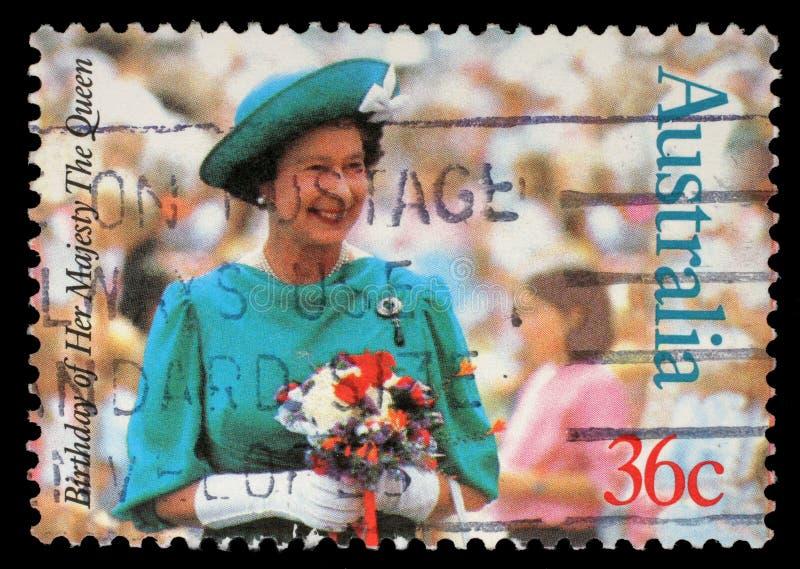 Selo impresso por Austrália, rainha Elizabeth II das mostras foto de stock