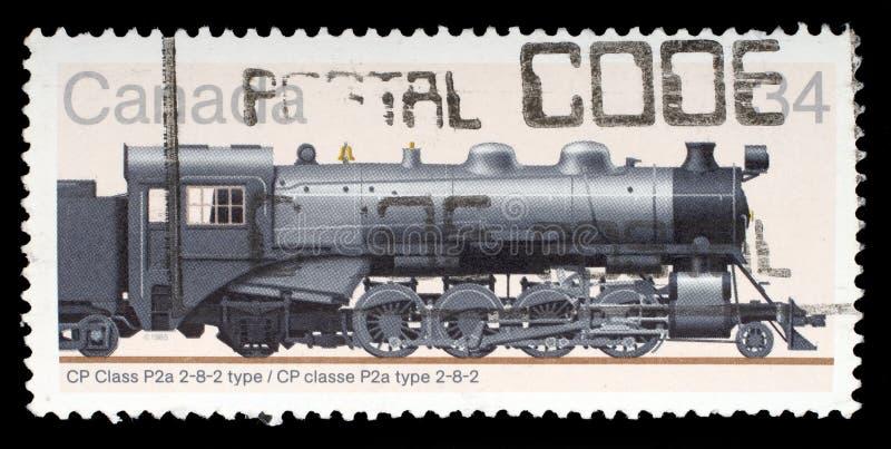 Selo impresso por Canadá, mostras locomotivas fotos de stock