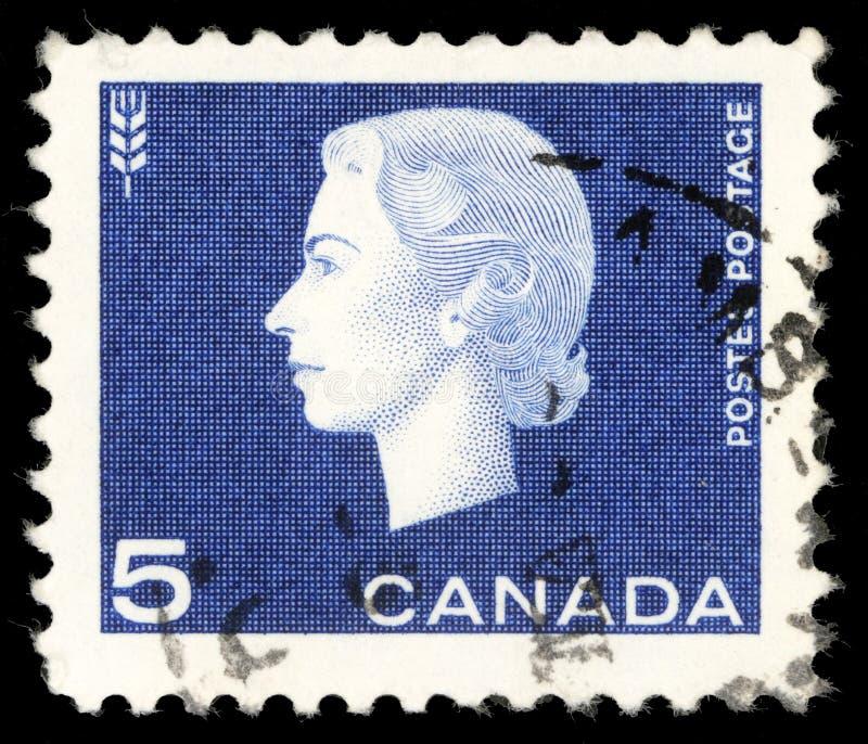 Selo impresso por Canadá, rainha Elizabeth II das mostras fotos de stock royalty free