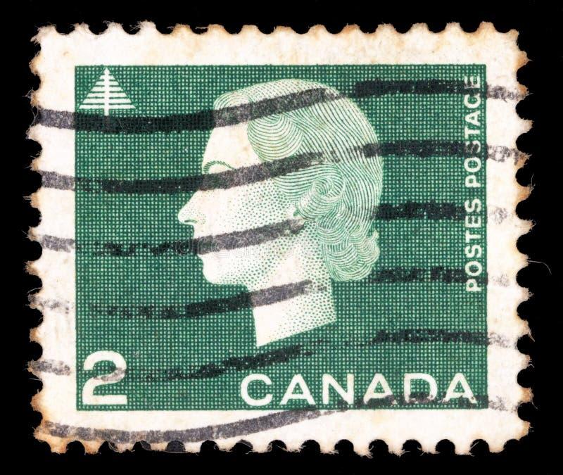 Selo impresso por Canadá, rainha Elizabeth II das mostras foto de stock royalty free