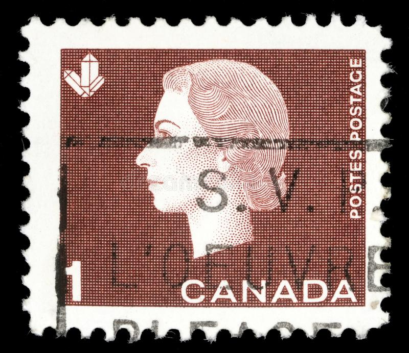 Selo impresso por Canadá, rainha Elizabeth II das mostras imagem de stock royalty free