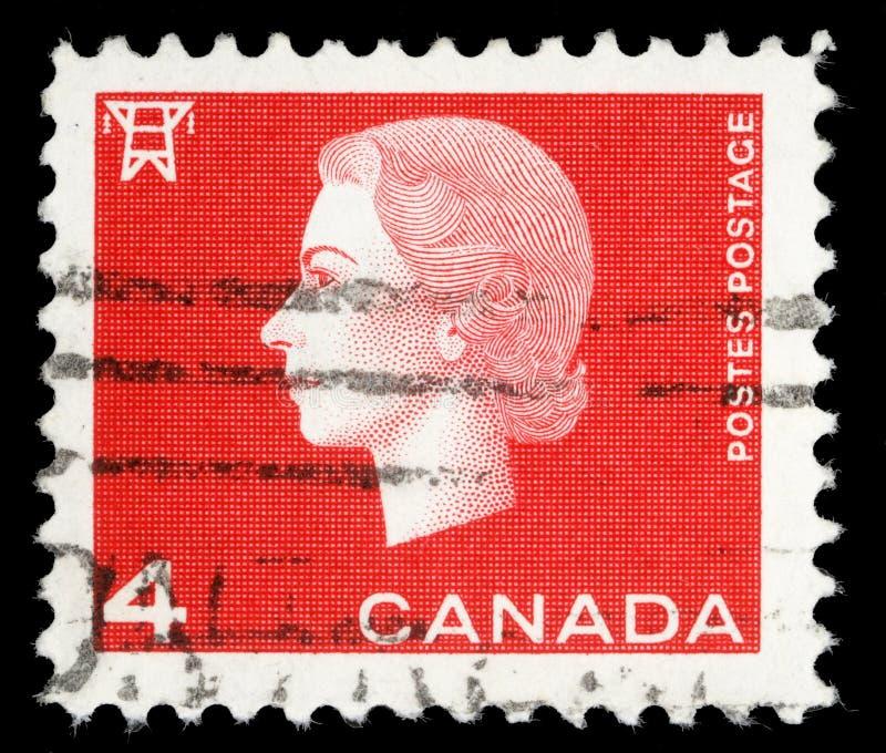 Selo impresso por Canadá, rainha Elizabeth II das mostras fotos de stock