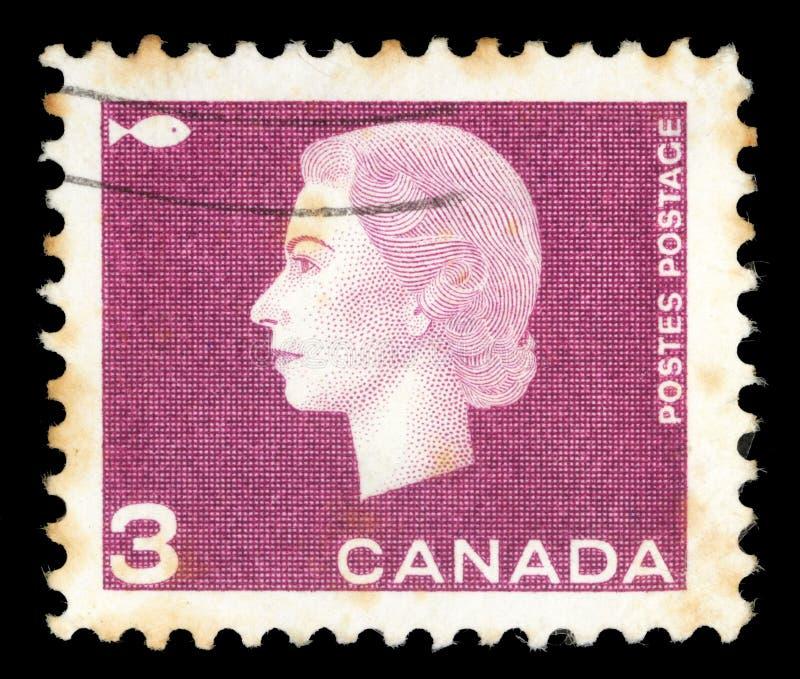 Selo impresso por Canadá, rainha Elizabeth II das mostras imagens de stock