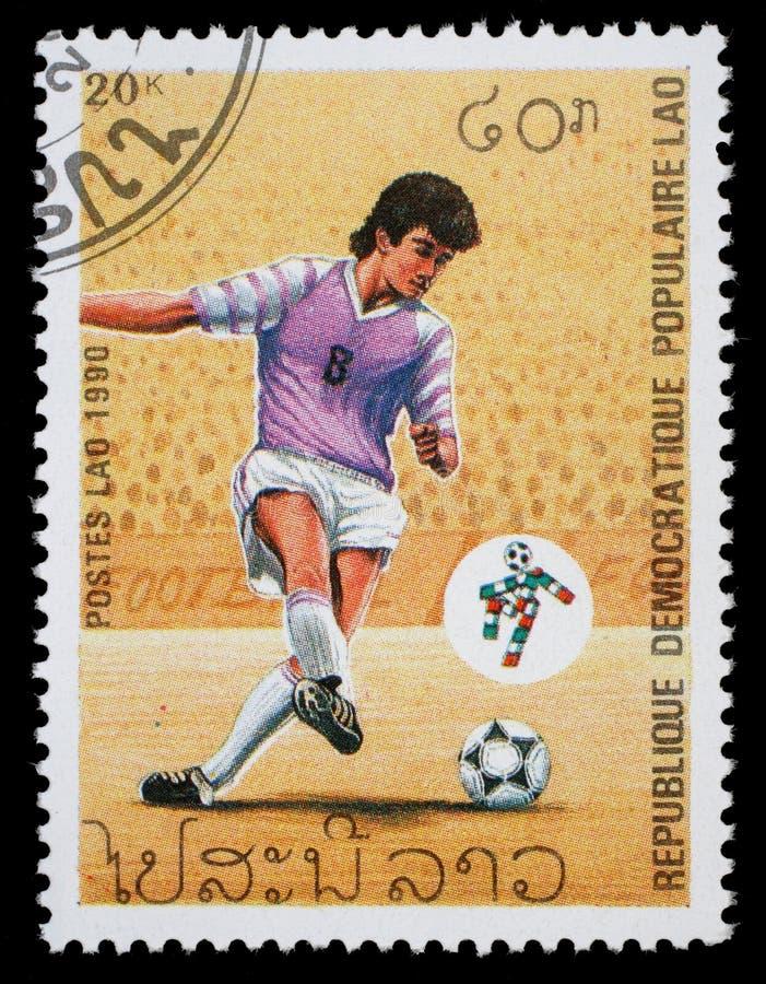 Selo impresso por Laos, campeonatos do futebol das mostras fotos de stock royalty free