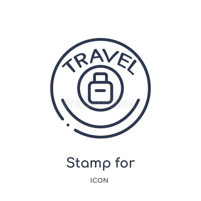 Selo linear para o ícone dos passaportes da coleção do esboço do terminal de aeroporto Linha fina selo para o vetor dos passaport ilustração do vetor