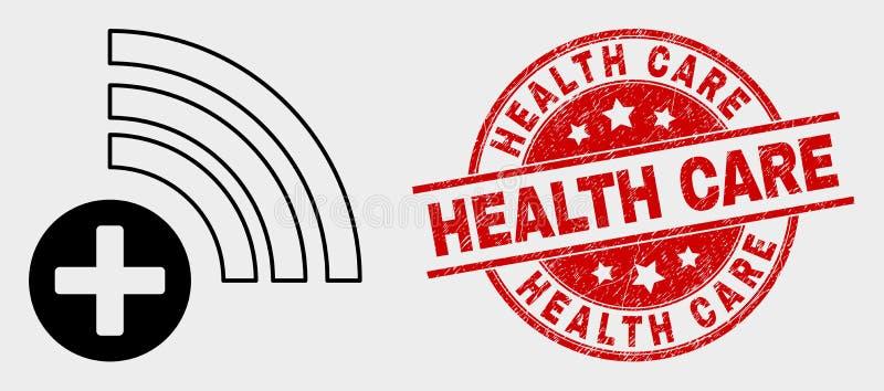 Selo médico do ícone da fonte do vetor e do selo dos cuidados médicos da aflição ilustração stock