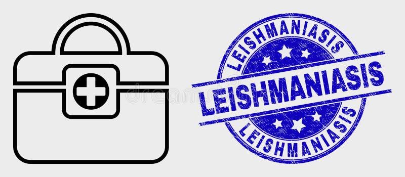Selo médico linear do ícone da bolsa do vetor e do selo do Leishmaniasis do Grunge ilustração stock