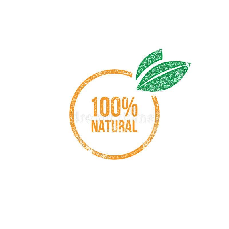 selo natural do fruto de 100% ilustração royalty free