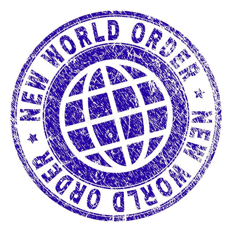 Selo NOVO Textured riscado do selo do ORDEM MUNDIAL ilustração stock