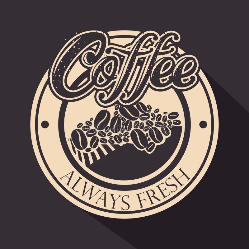 Selo original do café com grões ilustração stock